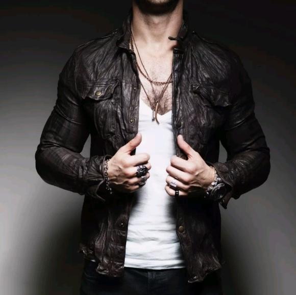 de5357a9c ALL Saints Demon black Leather Jacket shirt slim M NWT